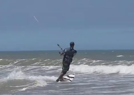 toeside riding on a directional kitesurf board