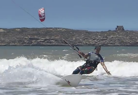 Upwind stand on a directional kitesurf board