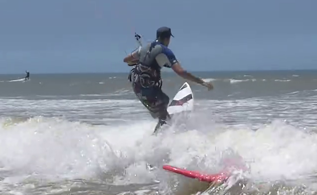 Go over whitewater on a directional kitesurf board
